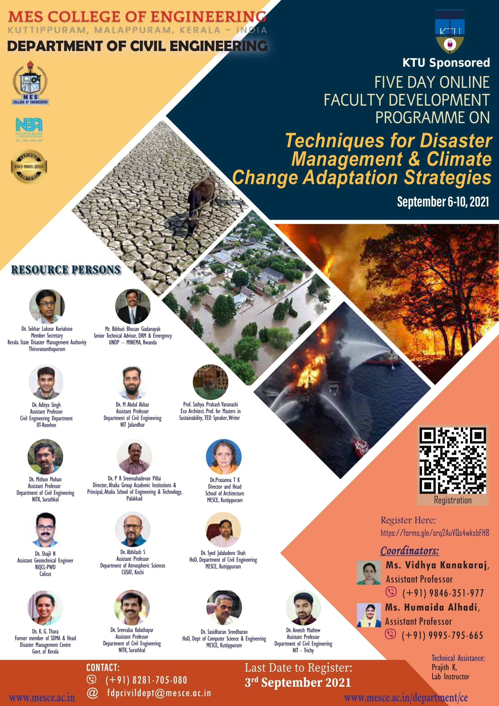 """KTU sponsored faculty development programme (online) on """"Techniques for disaster management & climate change adaptation strategies."""""""