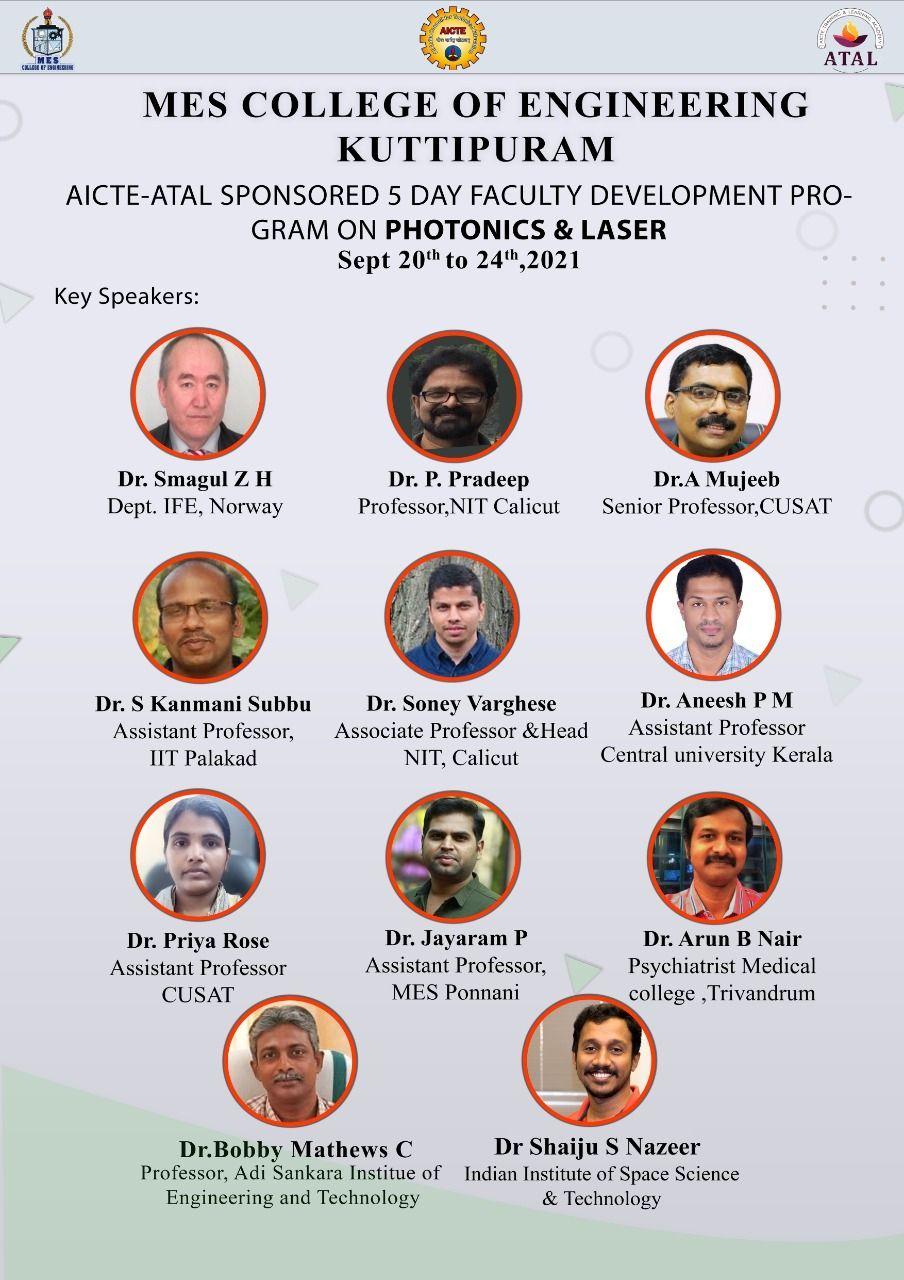 AICTE ATAL sponsored 5 day FDP on  Photonics & LASER